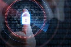 GeschäftsmannHandpressen-Verschlussikone mit binär Code, Sicherheit c Lizenzfreie Stockbilder