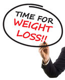 Geschäftsmannhandschrift-Textzeit für Gewichtsverlust Lizenzfreies Stockbild