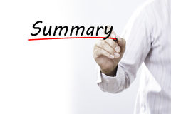 Geschäftsmannhandschrift Zusammenfassung mit Markierung, Geschäftskonzept Lizenzfreies Stockbild