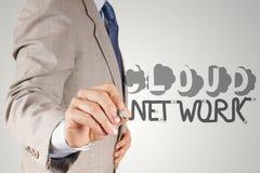 Geschäftsmannhandzeichnung Wolken-Netz desogn Stockbilder