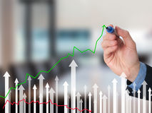 Geschäftsmannhandzeichnungsdiagramm des Wachstums auf Sichtschirm Stockfotografie