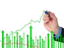 Geschäftsmannhandzeichnungsdiagramm des Wachstums auf Sichtschirm Lizenzfreie Stockfotografie