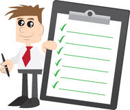 Geschäftsmannholding Klemmbrett mit Check-Markierungen stock abbildung