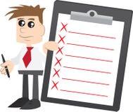 Geschäftsmannholding Klemmbrett mit x-Markierungen Lizenzfreie Stockbilder