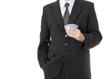 Geschäftsmannholding-Schürhakenkarten Lizenzfreies Stockbild