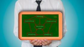 Geschäftsmannholding Unternehmenszieldiagramm Stockbilder