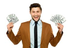 Geschäftsmannholdinggeld stockbilder