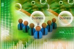 Geschäftsmannikone der Wiedergabe 3d mit Birne Stockfotos