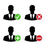 Geschäftsmannikonen mit addieren, löschen, nehmen an u. blockieren Zeichen Stockbild