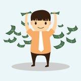 Geschäftsmannkarikatur mit verfügbarem Geld lizenzfreie abbildung