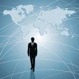 Geschäftsmannkommunikation mit Weltleuten Stockfotos