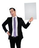 Geschäftsmannlachen über leere Datei Lizenzfreies Stockbild