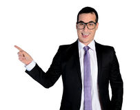 Geschäftsmannlustige Zeigeseite Stockfotos