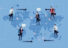 Geschäftsmannnetzabkommen auf Weltkartehintergrund Auf Linie Abkommen vektor abbildung