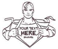 Geschäftsmannpop-art der Zeichnung des Superhelden Retro- Vektorillustration der netten männlichen mit Platz für Unterzeichnung E Stockfotos