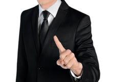 Geschäftsmannpresse etwas Lizenzfreies Stockbild