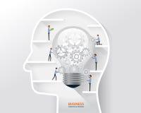 Geschäftsmannprozeß und -geschäft kreativ im Konzept des menschlichen Kopfes Glühlampe im menschlichen Kopf stock abbildung