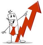 Geschäftsmannpunkte zum wachsenden Diagramm vektor abbildung