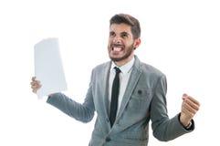 Geschäftsmannraserei Erhalten sehr verärgert Stockbild