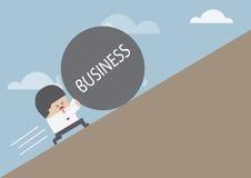Geschäftsmannrollenball mit Mitteilung 'GESCHÄFT' oben auf Hügel lizenzfreie abbildung