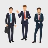Geschäftsmannsatz Vektorsammlung Ganzaufnahmen von Geschäftsleuten Eleganter Geschäftsmann auf weißem Hintergrund Lizenzfreie Stockfotografie