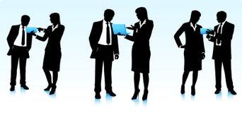 Geschäftsmannschattenbilder mit Computern Lizenzfreie Stockfotos