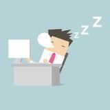 Geschäftsmannschlaf während des Arbeitens Lizenzfreie Stockbilder