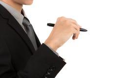 Geschäftsmannschreiben auf Kopienraum stockbild