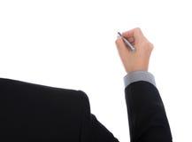 Geschäftsmannschreiben auf Kopienraum gegen stockfotos