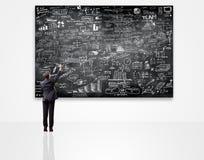 Geschäftsmannschreiben auf Tafel mit Unternehmensplan Stockfoto
