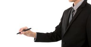 Geschäftsmannschreiben gegen weißen Hintergrund lizenzfreies stockbild