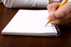 Geschäftsmannschreiben mit Bleistift lizenzfreie stockfotos