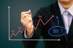 Geschäftsmannschreiben Schätzungsdiagramm für Jahr 2017 u. x28; Pastell-tone& x29; lizenzfreie stockbilder
