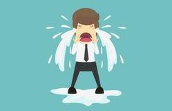 Geschäftsmannschreien traurig Karikatur des Geschäftsausfallung ist das Konzept O Stockbild