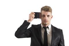 Geschäftsmannspeicherverbesserung Lizenzfreie Stockfotos