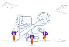 Geschäftsmannstütz-Online-Service 24 Stunden Anwendungsinternet-Call-Center-Chat-Kommunikation des Konzeptes bewegliche lizenzfreie abbildung