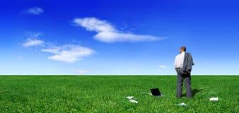 Geschäftsmannstellung auf grünem Feld stockbilder