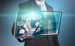 Geschäftsmanntechnologieschnittstelle Stockbild