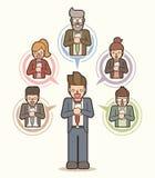 Geschäftsmannvision, Karikatur des Zieltraums in der Zukunft vektor abbildung