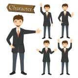 Geschäftsmannzeichensatz-Vektorillustration Stockbilder