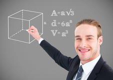 Geschäftsmannzeichnungs-Gleichungsgraphiken stockbild
