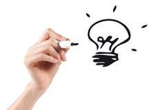 Geschäftsmannzeichnungs-Ideenlampe Stockfotos