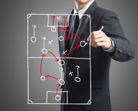 Geschäftsmannzeichnungs-Taktikentwurf an Bord Lizenzfreies Stockbild