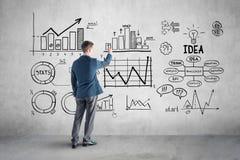 Geschäftsmannzeichnungs-Unternehmensplan, Diagramm, Diagramm an Stockfotos