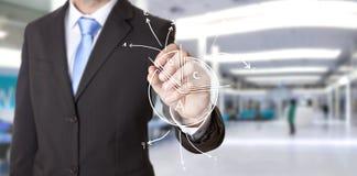 Geschäftsmannzeichnungsdiagramm Stockfoto