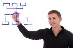 Geschäftsmannzeichnungsdiagramm im whiteboard Stockbilder