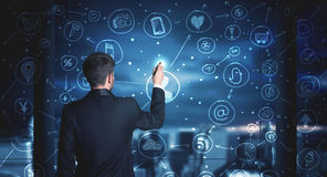 Geschäftsmannzeichnungssocial media-Verbindungsentwurf Lizenzfreie Stockfotos