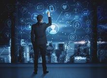Geschäftsmannzeichnungssocial media-Verbindungsentwurf Lizenzfreie Stockfotografie