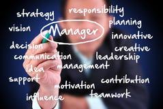 Geschäftsmannzeichnungstext über Manager Lizenzfreie Stockfotos