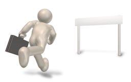Geschäftsmannziele, zum des Lack-Läufers zu beenden Stockfotos
